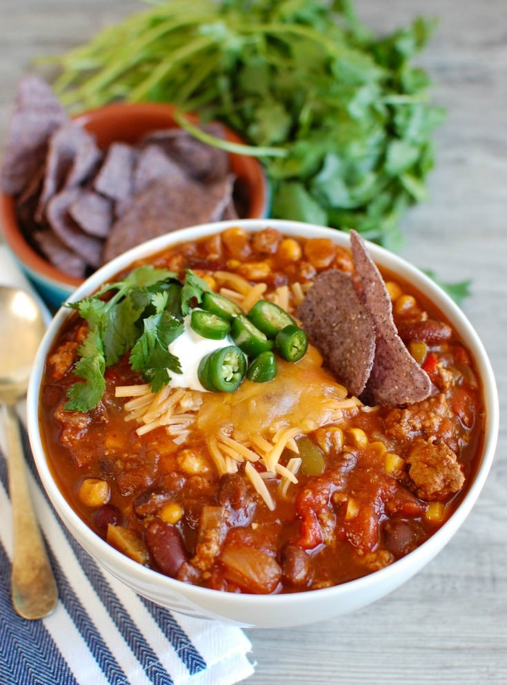 Slow Cooker Turkey Chili from A Cedar Spoon