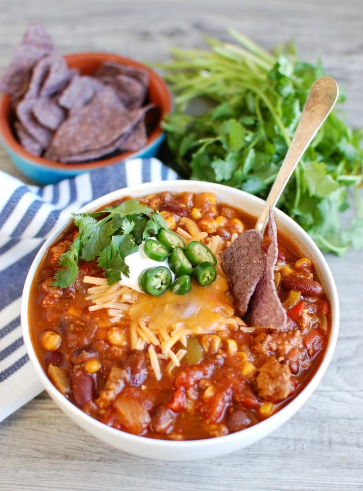 Slow Cooker Turkey Chili is a leaner chili than when beef is used but is still hearty and flavorful. Put this in the crockpot, go about your day and come home to a delicious bowl of chili.
