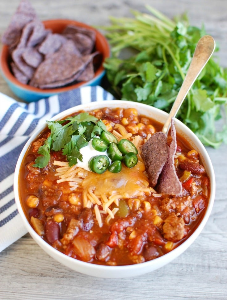 Slow Cooker Turkey Chili is a leaner chili than when beef is used but is still hearty and flavorful. Put this in the crockpot, go about your day and come home to a delicious bowl of chil
