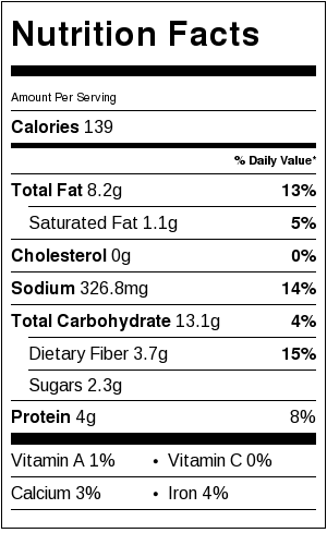 crunchy roasted chickpeas - nutritional information