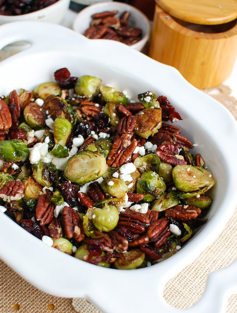 Brussels Sprouts with Cranberries with goat cheese