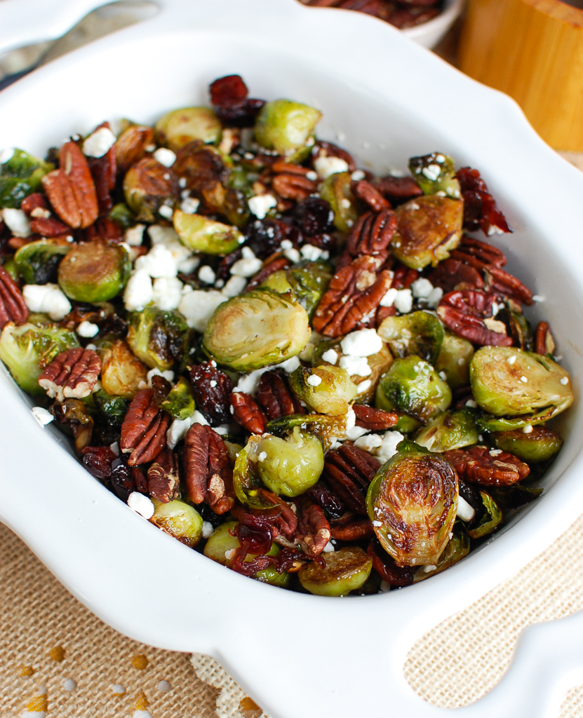 Brussels Sprouts with Cranberries in white bowl