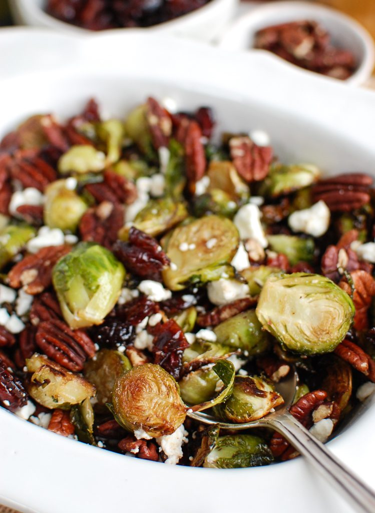 Brussels Sprouts with Cranberries with spoon