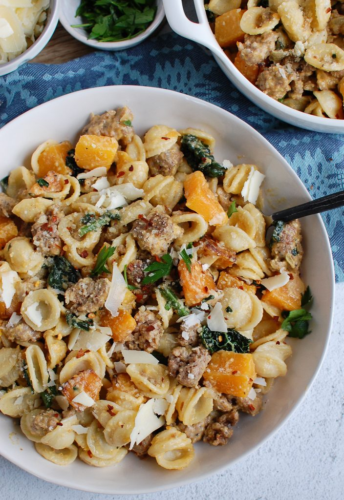 Butternut Squash Pasta with fork