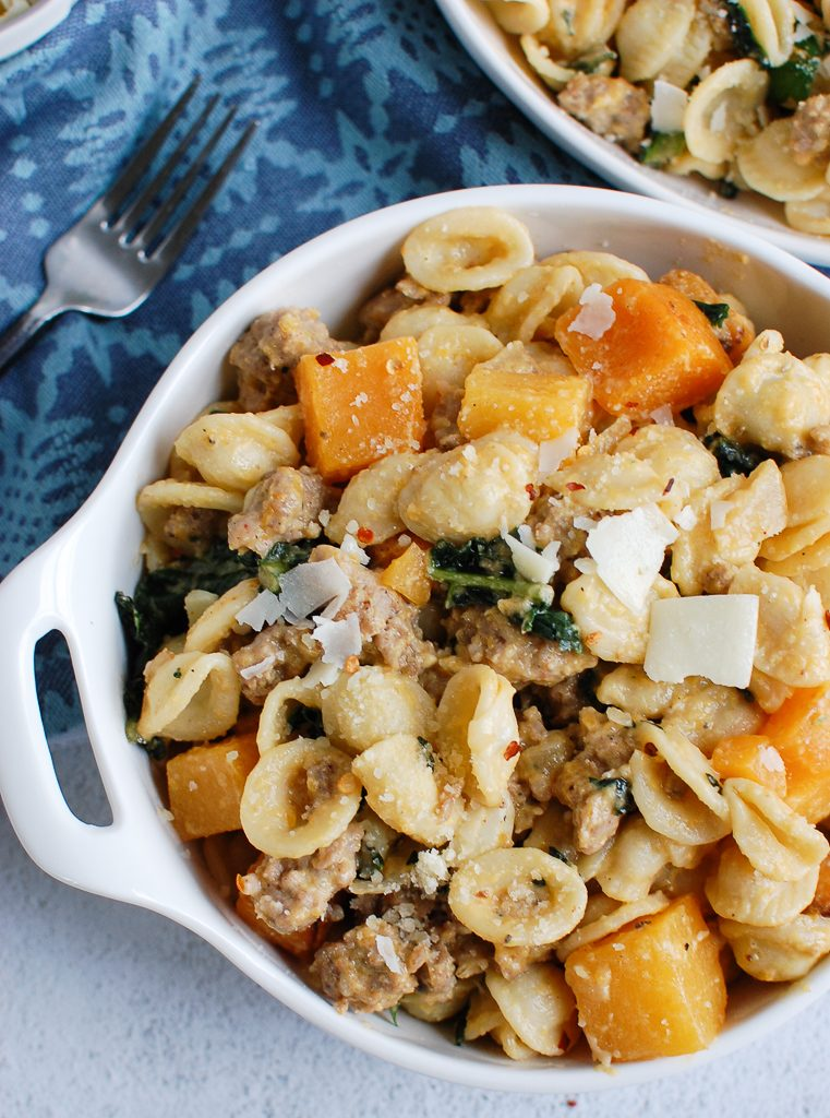 Butternut Squash Pasta with Parmesan cheese