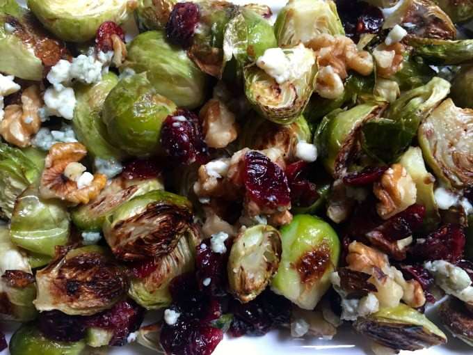 Roasted Brussels Sprouts with Blue Cheese, Walnuts and Cranberries - A ...