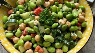 Edamame Chickpea Feta Salad with Lemon Tahini Dressing