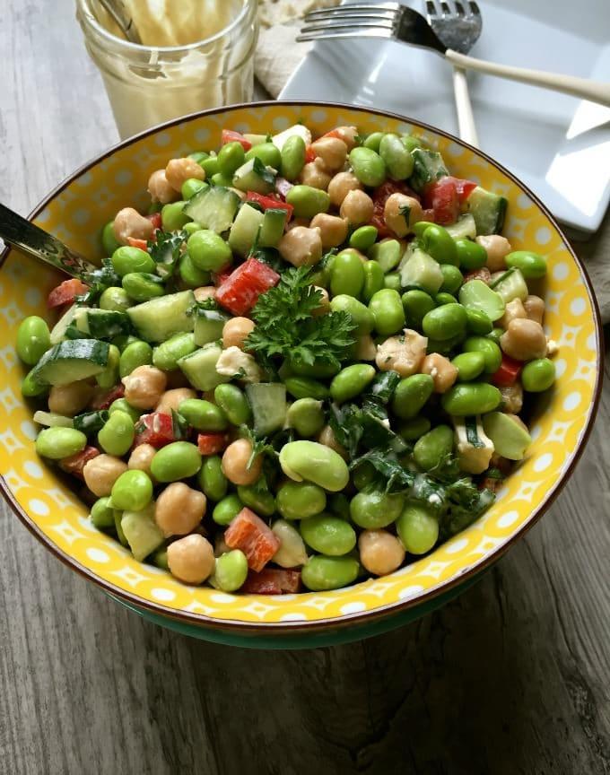 Edamame Chickpea Salad
