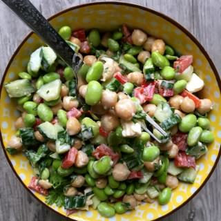 Edamame Chickpea Feta Salad with Lemon Tahini Dressing
