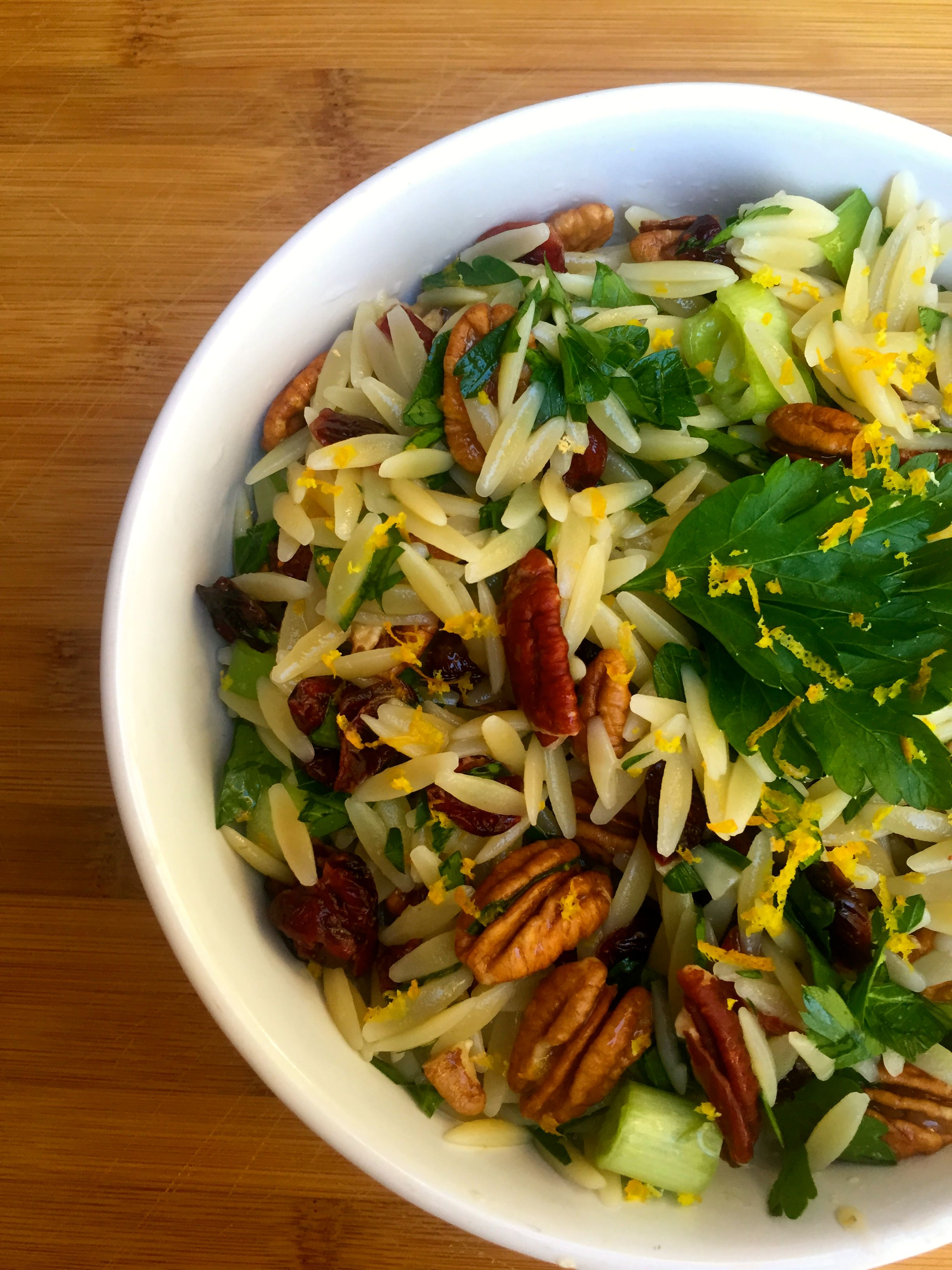 Cranberry, Pecan and Orange Orzo Pasta Salad - holiday salad