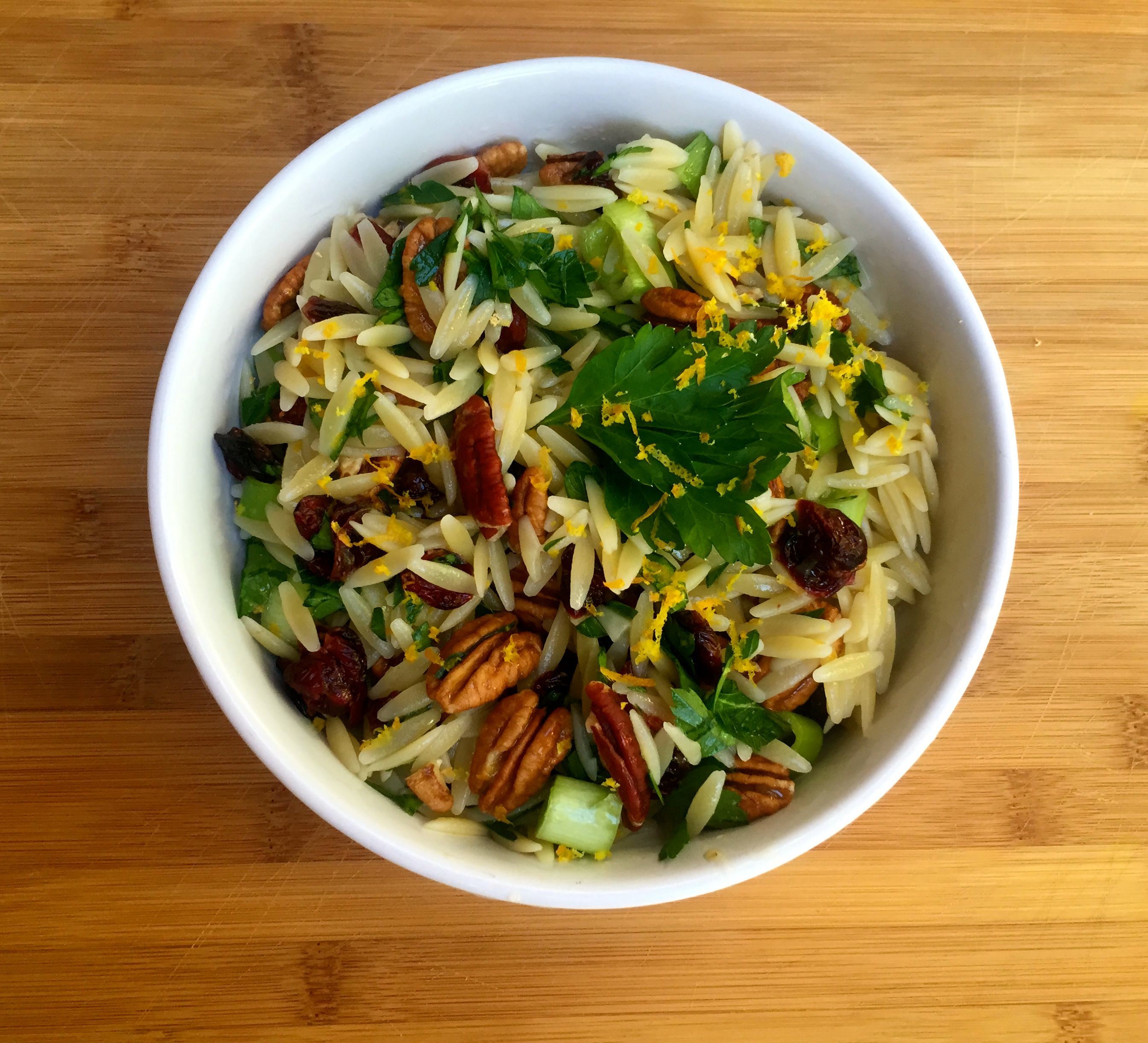 Cranberry Pecan and Orange Orzo Salad - yum