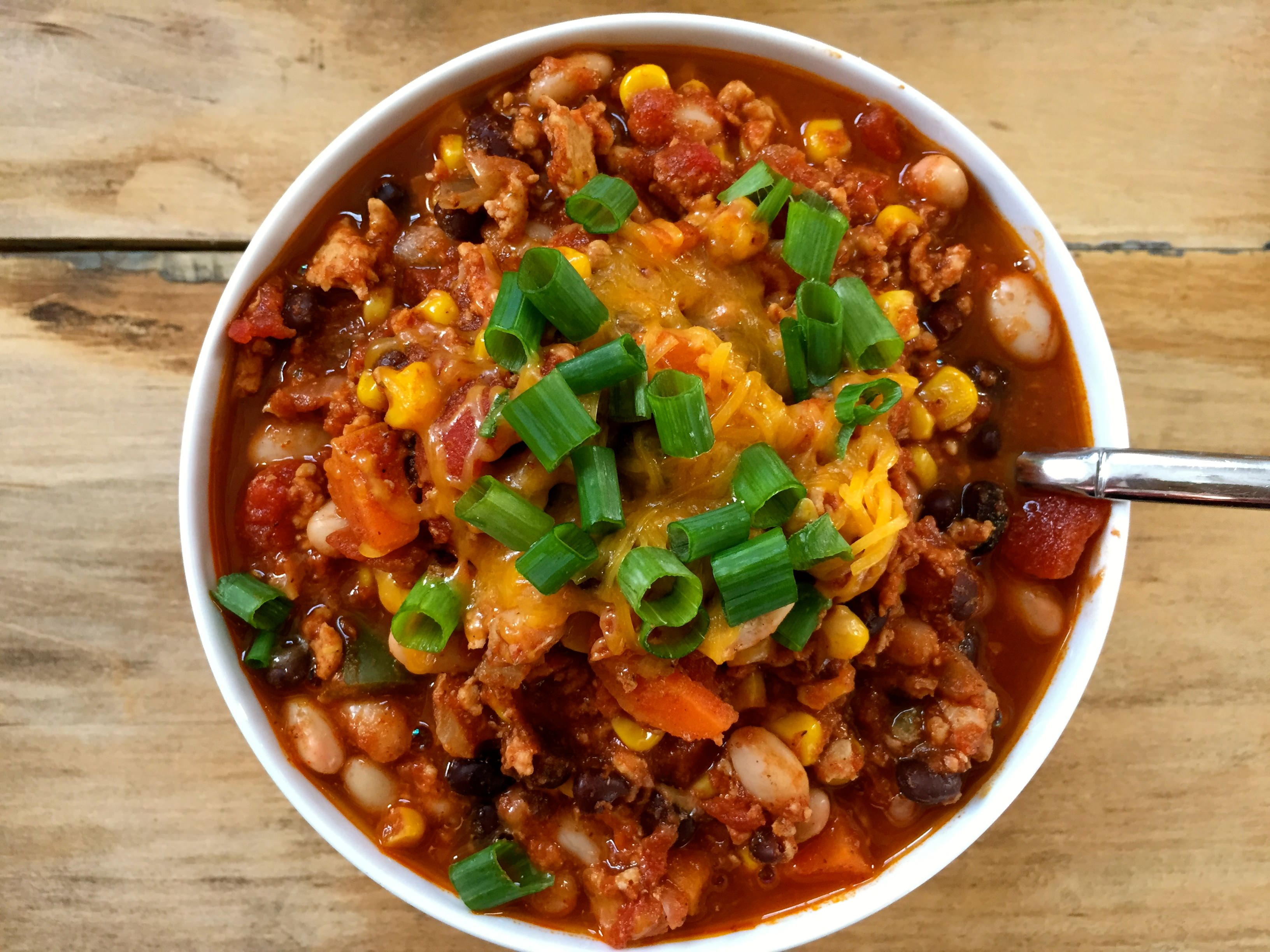 White and Black Bean Turkey Chili
