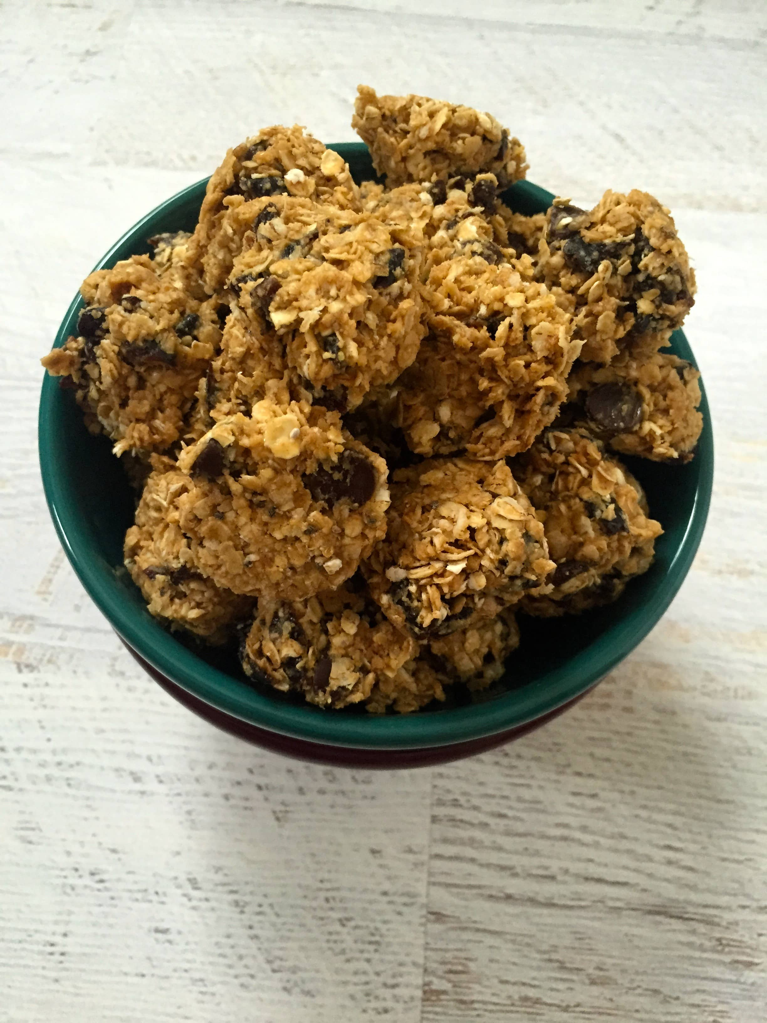 Peanut Butter Oatmeal Prune Dark Chocolate Bites