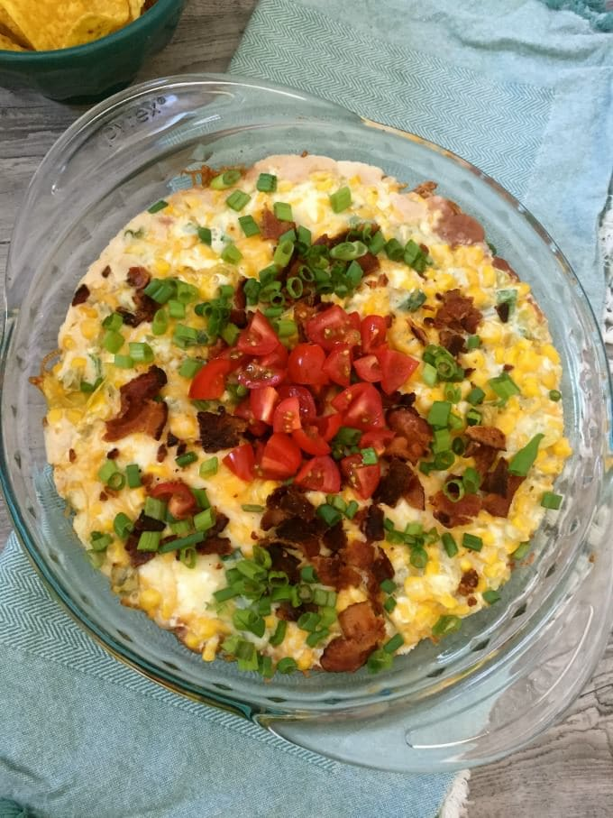 Cheesy Corn Bean and Bacon Dip - A Cedar Spoon