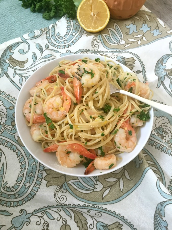 Lemon Garlic Shrimp Pasta with napkin
