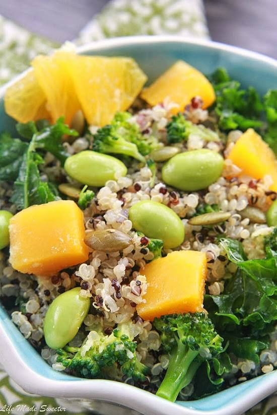 Fall Quinoa Salad with Roasted Butternut Squash and Wasabi Lime Dressing by @lifemadesweeter