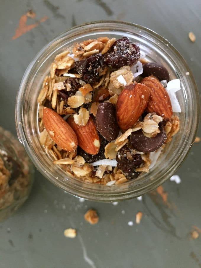 Dark Chocolate Cherry Almond Granola is tart, sweet and crunchy making ...