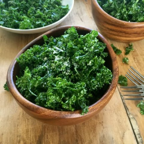 Kale Salad with Lemon Dressing with three bowls