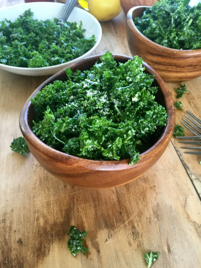 Easy Kale Salad Recipe with Lemon Dressing with cheese.