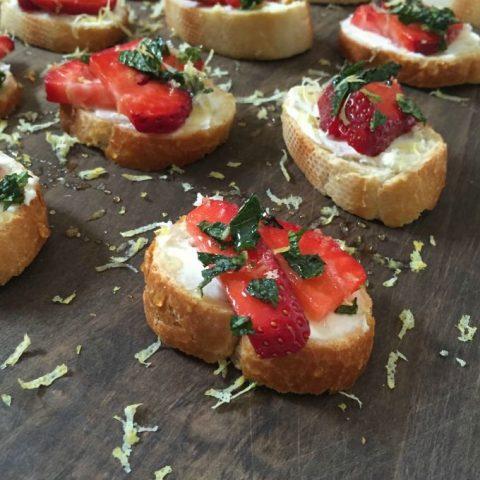 Strawberry Mint Crostini with Lemon Honey Drizzle