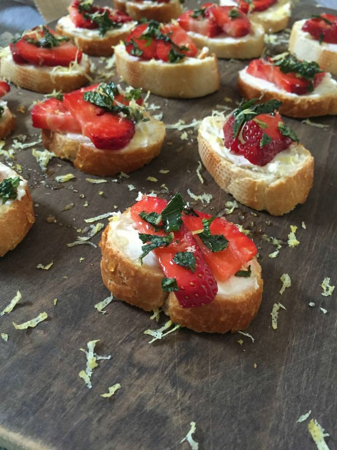 Strawberry Mint Crostini with Lemon Honey Drizzle