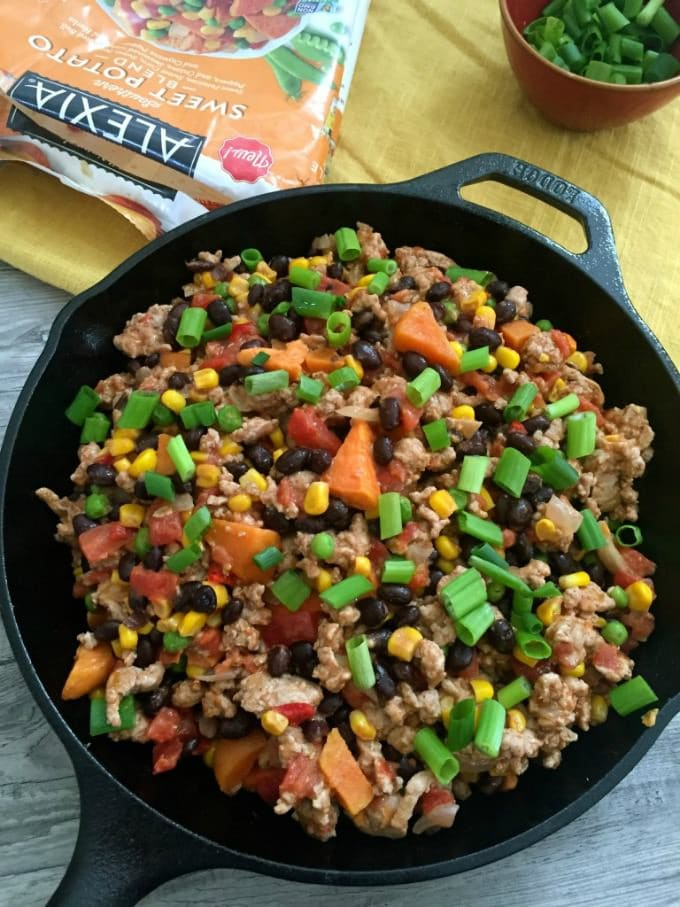 15 Minute Turkey Sweet Potato Black Bean Skillet