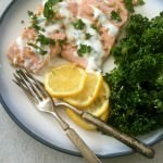 Lemon Baked Salmon with Pine Nuts and Mint Yogurt Sauce