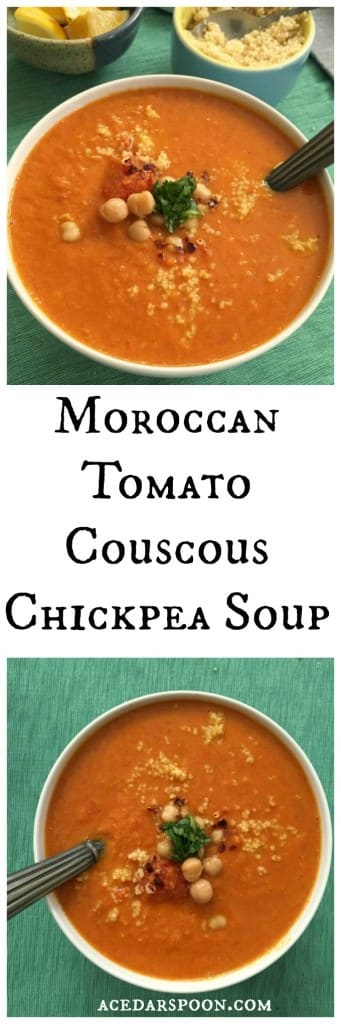 Moroccan Tomato Couscous Chickpea Soup - yum