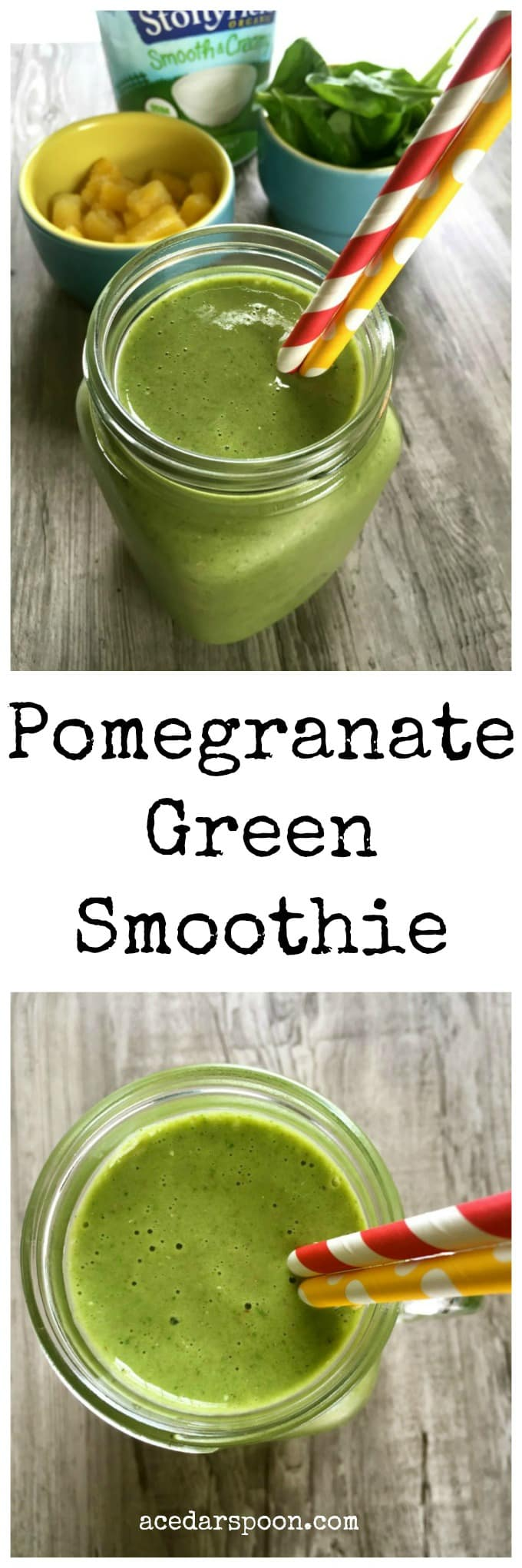 Pomegranate Green Smoothie + Blender Giveaway - A Cedar Spoon
