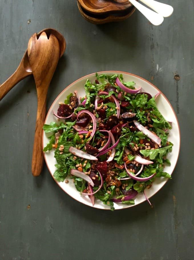 Farro Roasted Beet Arugula Salad - A Cedar Spoon