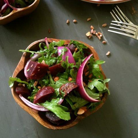 Farro Roasted Beet Arugula Salad