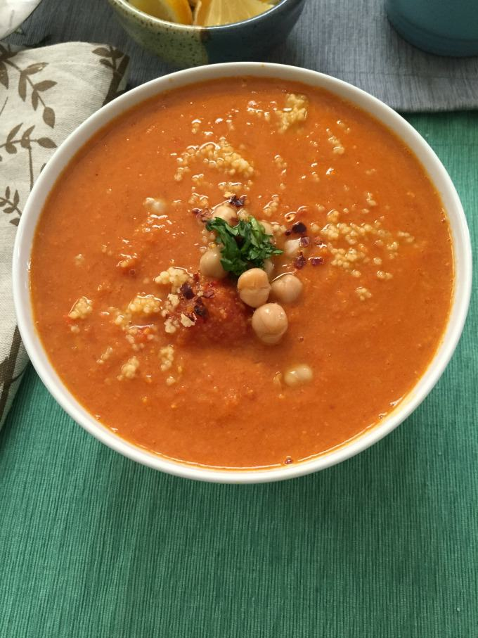 Moroccan Tomato Couscous Chickpea Soup - soup for dinner!