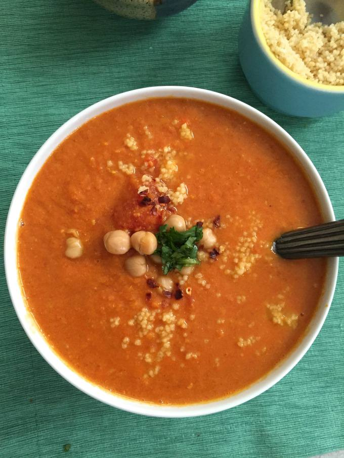 Moroccan Tomato Couscous Chickpea Soup - comforting