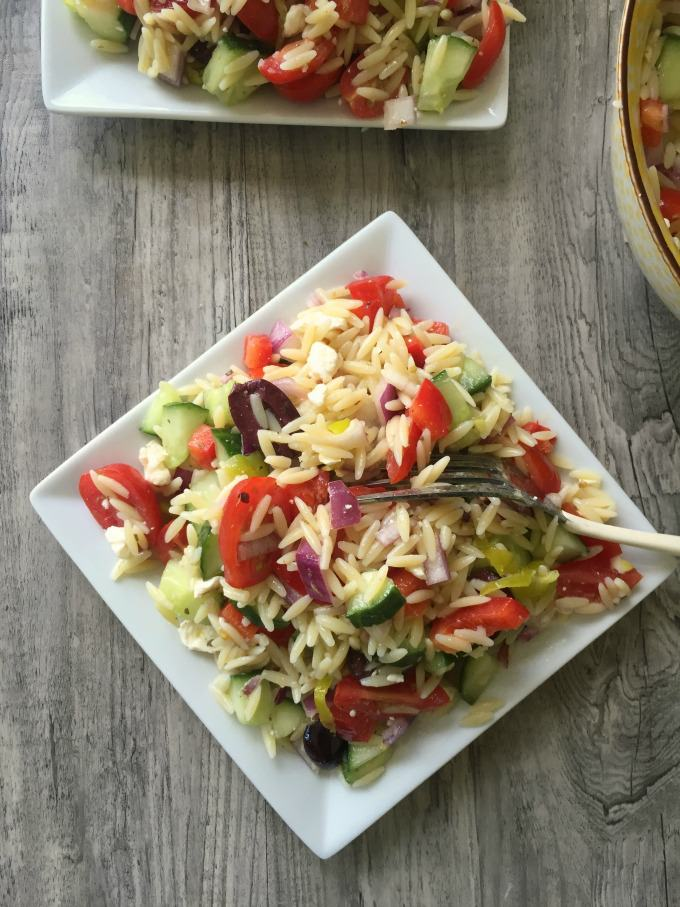Greek Orzo Pasta Salad is the perfect side dish for a summer picnic or Memorial Day BBQ.