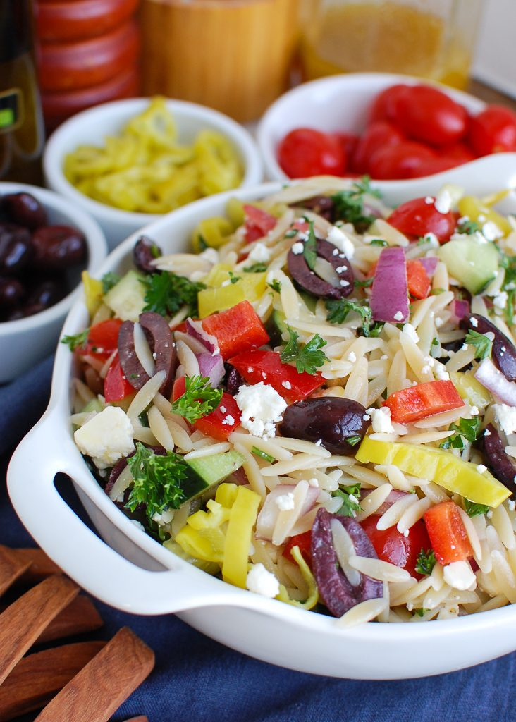 Greek Orzo Pasta Salad White Dish