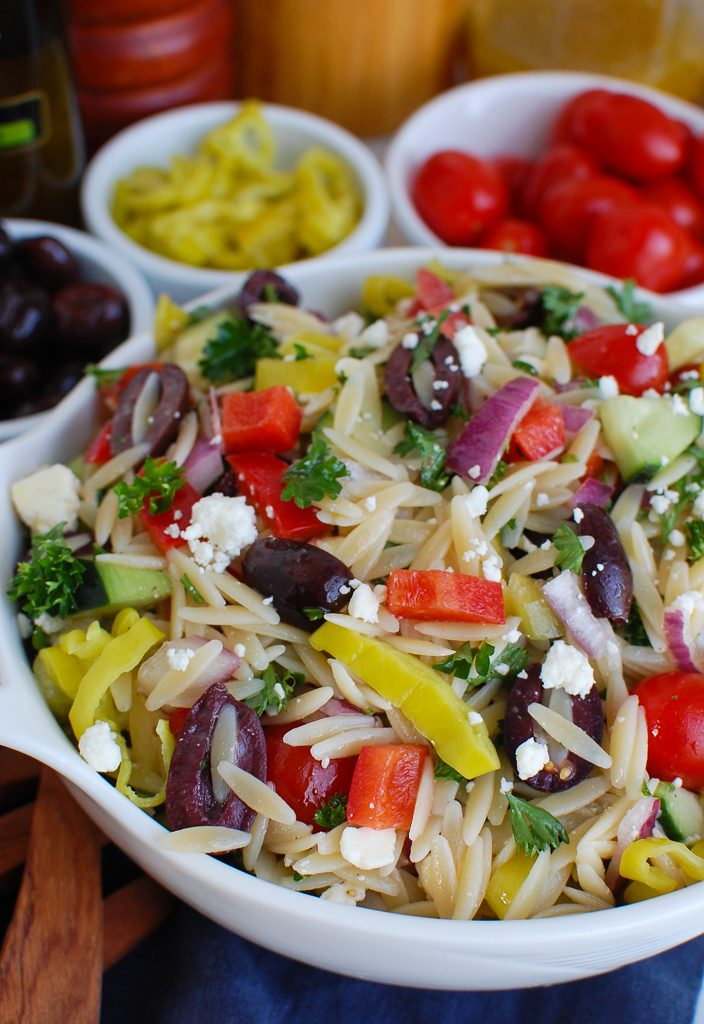 Greek Orzo Pasta Salad with Spoon