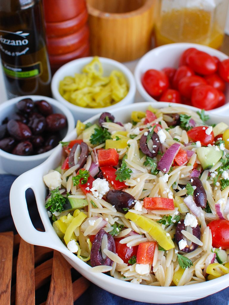 Greek Orzo Pasta Salad with Greek flavors