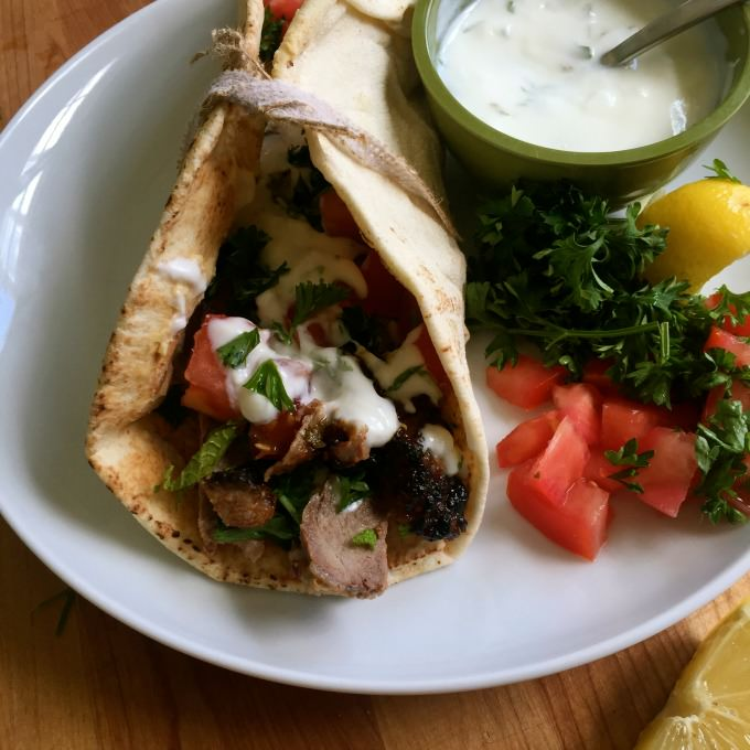 Mediterranean Steak Pita Wrap with Mint Yogurt Sauce
