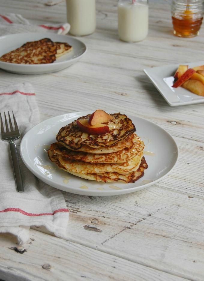 Honey Cornbread Pancakes with Peaches