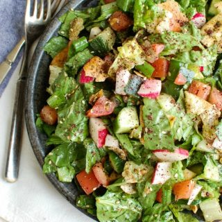Fattoush Salad with silverware