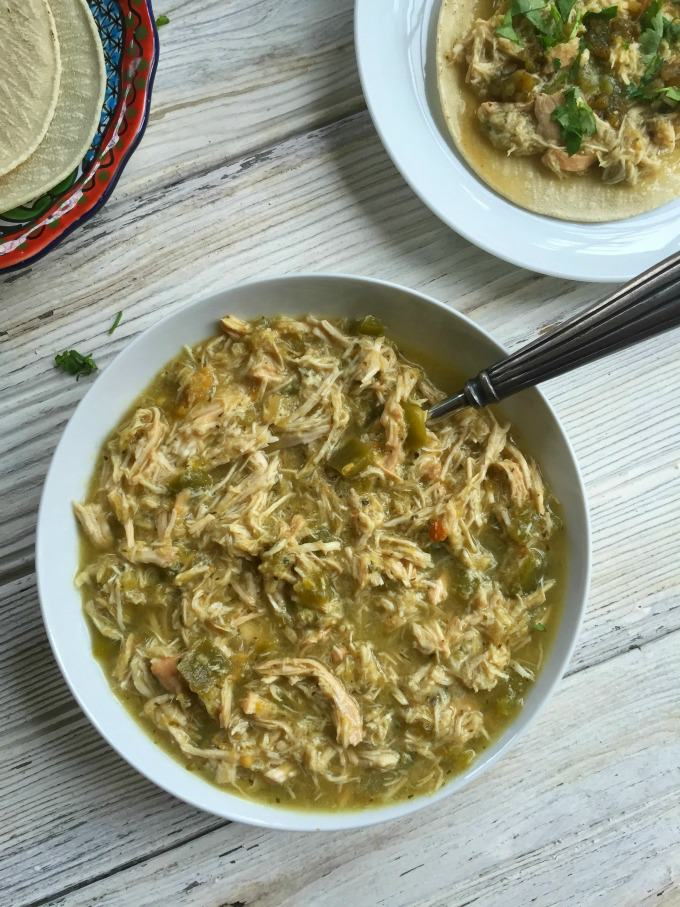 Slow Cooker Salsa Verde Chicken Tacos - A Cedar Spoon