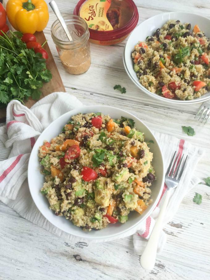 Southwestern Avocado Quinoa Salad with Chipotle Hummus Dressing - A ...