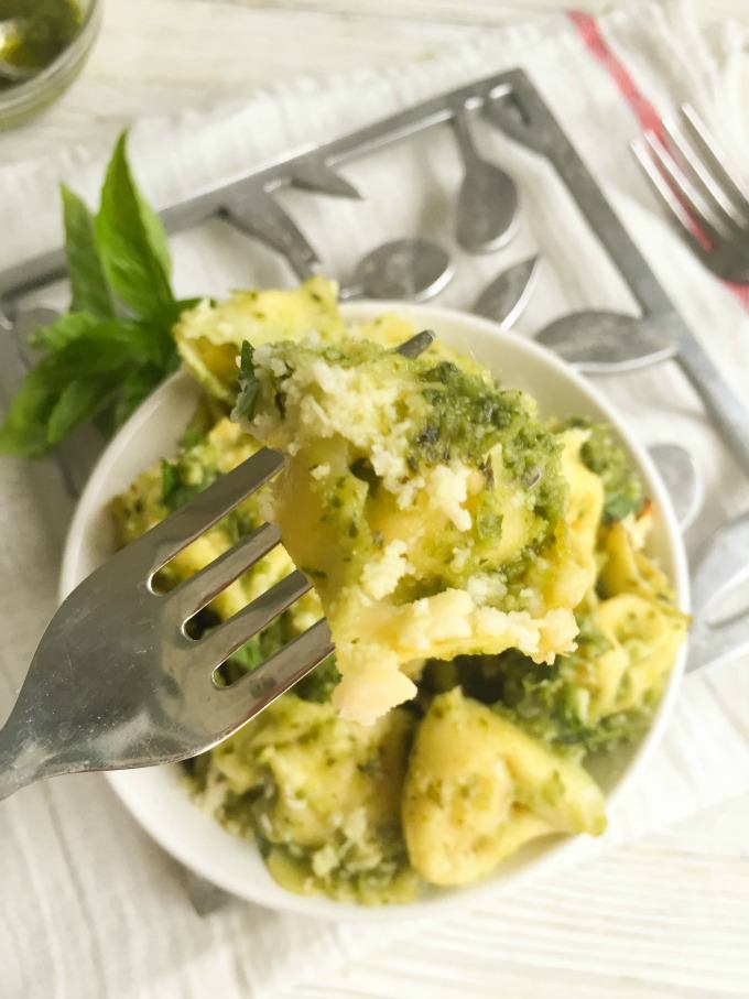Pesto Tortellini with fork.