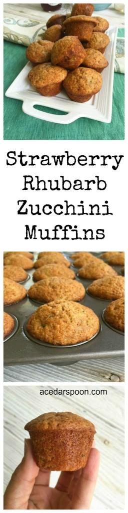 Strawberry Rhubarb Zucchini Muffins