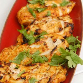 Tandoori Grilled Chicken on red plate