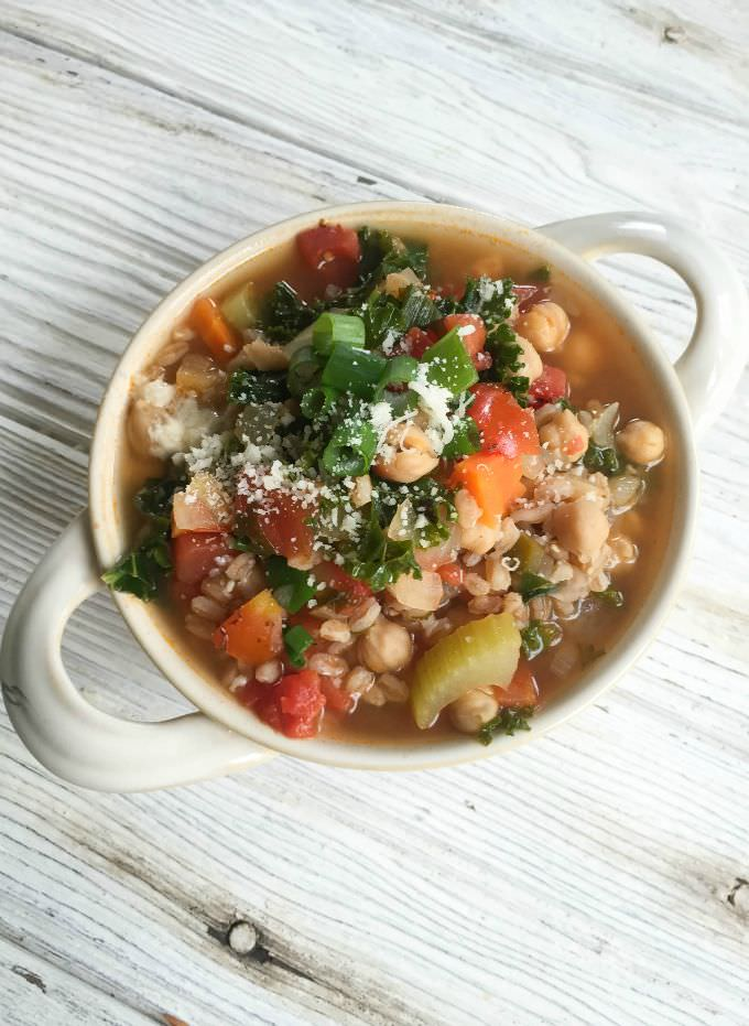 Kale Chickpea Farro Soup is a vegetarian soup perfect for the crisp ...