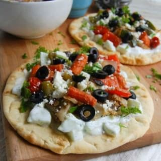 Mediterranean Roasted Vegetable Gyro with Cucumber Yogurt Sauce