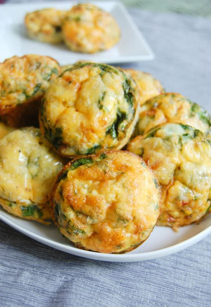 Breakfast Egg Muffins with spinach.