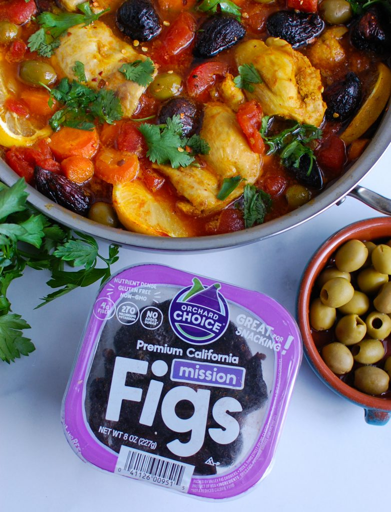 Moroccan Chicken Thighs with packaging of figs