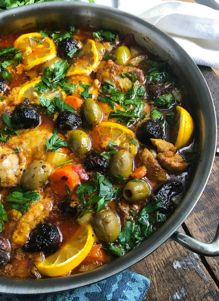 Moroccan Chicken Thighs with large pan